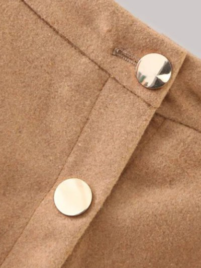 Wool Blend Flounce Mini Skirt - KHAKI M Mobile