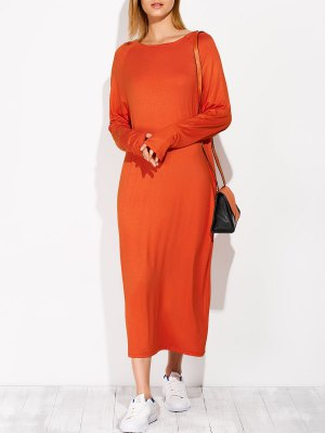 Modal Lounge Midi Dress With Sleeves - Jacinth