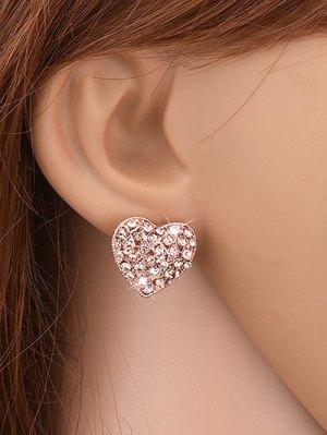 Heart Shape Rhinestone Stud Earrings - Golden