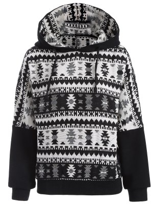 Tribal Jacquard Pullover Batwing Hoodie - White And Black