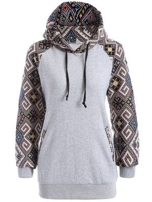 Jacquard Pullover Drawstring Hoodie - Gray