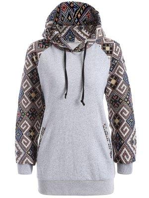 Jacquard Pullover Drawstring Hoodie - Gray