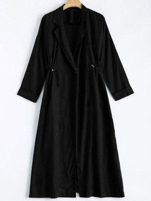 Back Slit Drawstring Maxi Trench Coat - Black