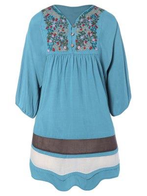 Vestido Tunica Bordado Y Malla - Azul Claro