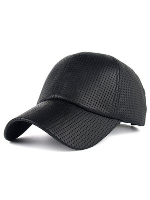 Casual Holes Design PU Leather Baseball Hat - Black