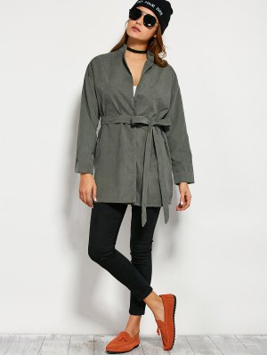 Belted Wrap Trench Coat - Army Green