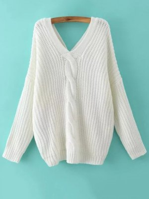 Cable Knit V Neck Sweater With Back Buttons - White