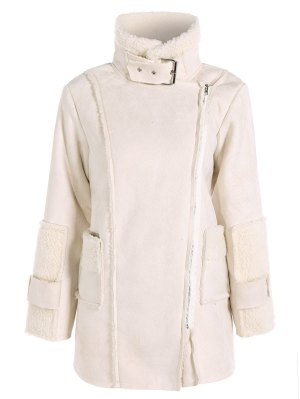 Faux Suede Fleece Lining Zipped Coat - Off-white