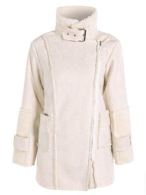 Faux Suede Fleece Lining Zipped Coat - Off-white