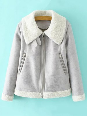 Faux Leather Faux Shearling Jacket - Gray