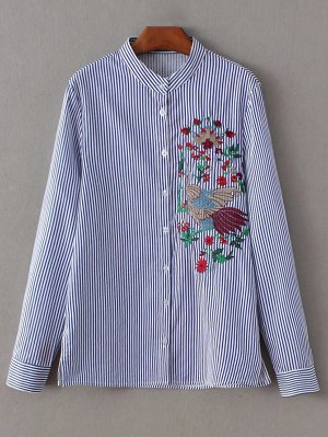 Striped Peacock Embroidered Shirt - Stripe