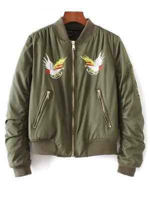Eagle Embroidered Quilted Bomber Jacket - Army Green