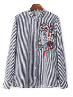 Striped Stand Collar Peacock Embroidered Shirt - Stripe