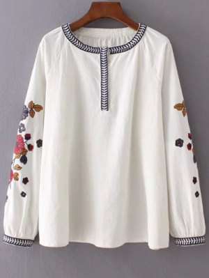 Embroidered Sleeve Blouse - Off-white