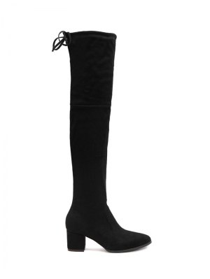 Pointed Toe Chunky Heel Thigh Boots - Black