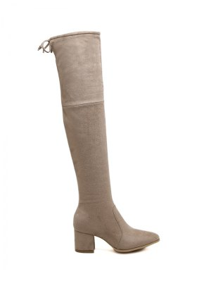 Pointed Toe Chunky Heel Thigh Boots - Apricot