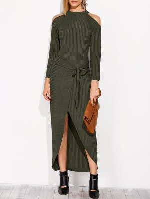 Asymmetric Cold Shoulder Knitted Dress - Blackish Green