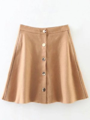 Wool Blend Flounce Mini Skirt - Khaki