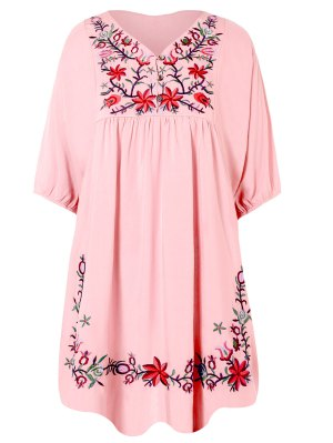 Floral Embroidered Bib Tunic Dress - Pink