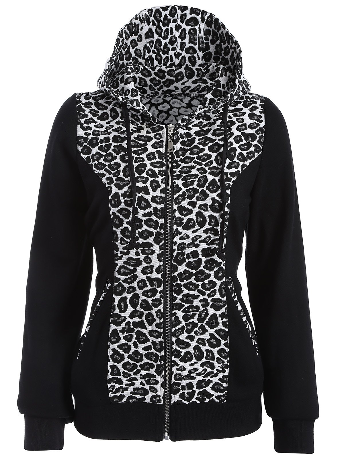 Zip Up Leopard Jacquard Hoodie