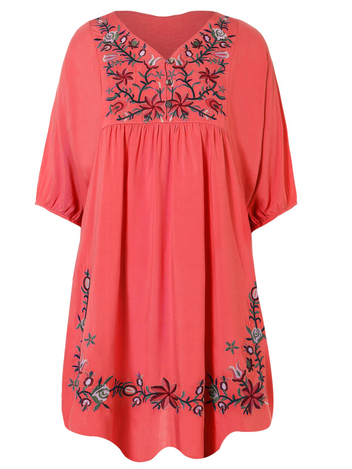 Embroidered Bib A Line Dress