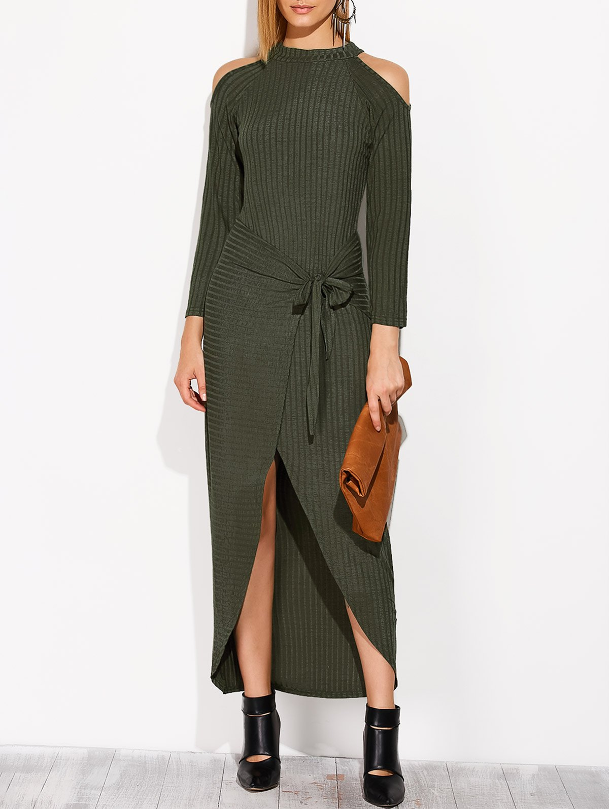 Asymmetric Cold Shoulder Knitted Dress - BLACKISH GREEN M