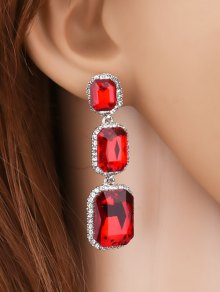 Geometric Faux Gemstone Rhinestone Earrings