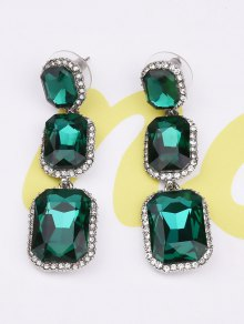 Geometric Faux Gemstone Rhinestone Earrings - Green