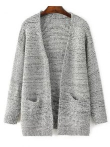 Front Open Cardigan With Pockets - Gray