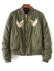Eagle Embroidered Quilted Bomber Jacket