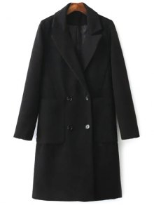 Back Slit Lapel Collar Peacoat