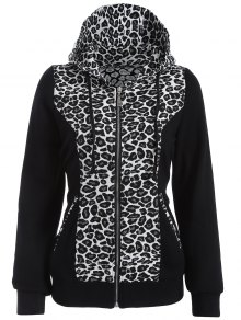 Zip Up Leopard Panel Hoodie - White And Black L