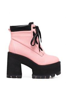 Platform Chunky Heel Combat Boots - Pink 38