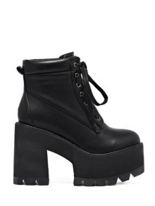 Platform Chunky Heel Combat Boots - Black