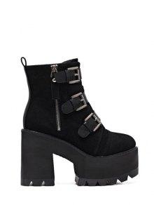 Platform Triple Buckles Chunky Heel Boots - Black 39