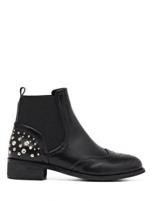 Engraving Rivet PU Leather Short Boots - Black