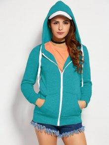 Drawstring Zip Up Hoodie With Pocket - Lake Blue L