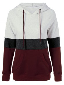 Color Block Drawstring Plus Size Hoodie