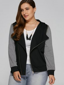 Hooded Zip Pocket Plus Size Jacket - Black And Grey 3xl