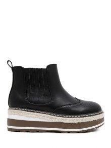 Buy PU Leather Platform Engraving Ankle Boots - BLACK 38