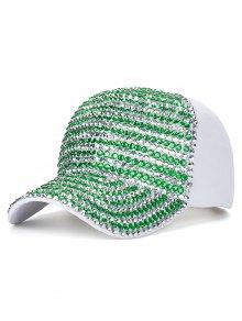 Casual Rhinestone Snapback Baseball Hat - White
