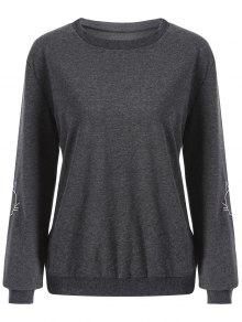 Cat Embroidered Sleeve Sweatshirt - Deep Gray L
