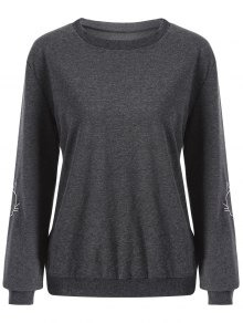 Cat Embroidered Sleeve Sweatshirt - Deep Gray M