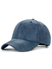 Casual PU Leather Baseball Hat - Cadetblue