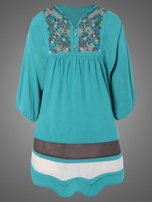 Plus Size Embroidered Bib Tunic Dress