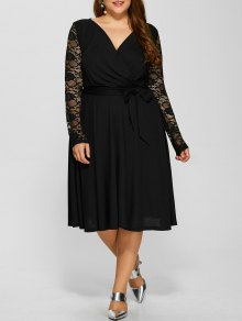 Lace Sleeve Surplice Plus Size Dress - Black 4xl