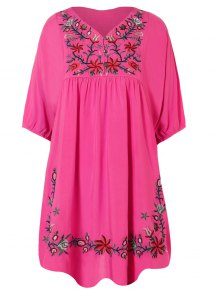 Floral Embroidered Bib Tunic Dress - Rose Red