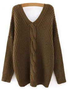 Cable Knit V Neck Sweater with Back Buttons