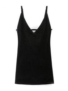 Plunging Neck Pleuche Cami Dress - Black M