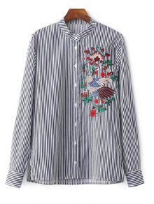 Striped Stand Collar Peacock Embroidered Shirt